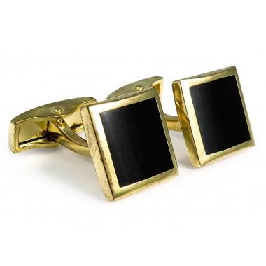 Czarno-złote kwadratowe spinki do mankietów A197