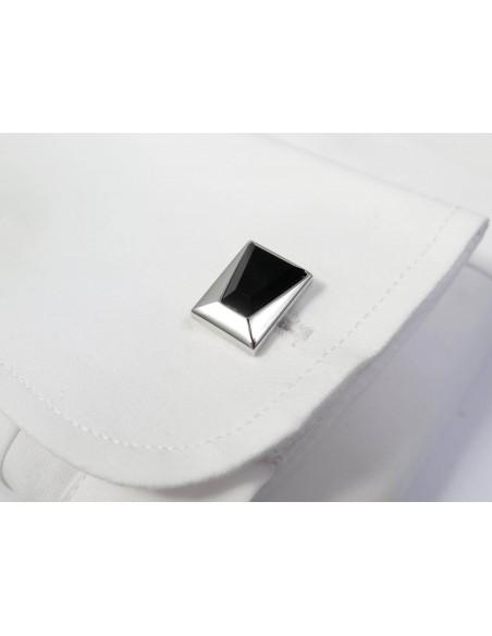 Srebrno-czarne prostokątne spinki do mankietów A198