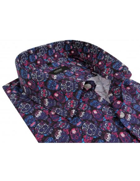Czarna koszula w różowe, niebieskie i białe czaszki Mmer C128