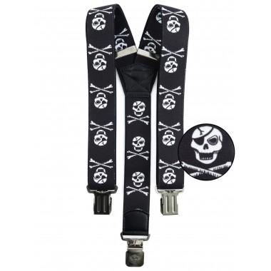 Pirackie czarne szelki do spodni SZ102