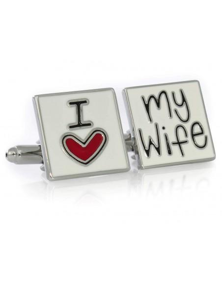 Srebrne spinki do mankietów - I love my wife