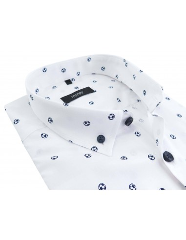 Biała koszula Mmer w granatowe piłki 028