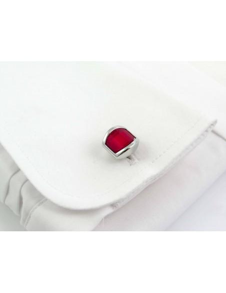 Zaokrąglone czerwone spinki do mankietów A203