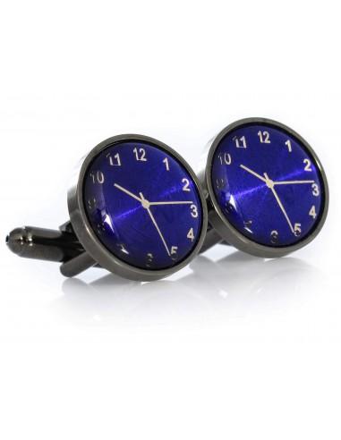 Spinki do mankietów - grafitowo-niebieskie zegarki A186