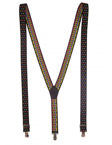 Czarne szelki w kolorowe kropki unisex X23
