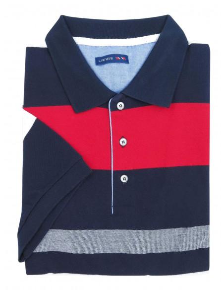 Granatowa męska koszulka polo w czerwono-białe paski KP16