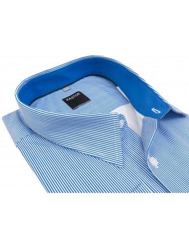 Biała koszula męska w błękitne prążki...
