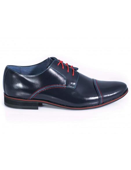 Granatowe buty wizytowe z czerwonymi wstawkami