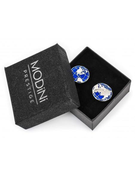 Srebrno-niebieskie spinki do mankietów - globus