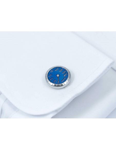 Srebrno-niebieskie spinki do mankietów - prędkościomierz U52