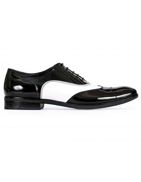 Czarno białe lakierki męskie - spektatory obuwie Al Capone