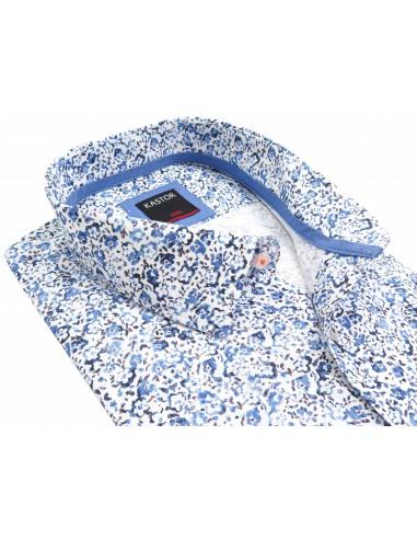 Biała w niebieskie kwiaty koszula z...