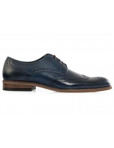 Granatowe męskie buty wizytowe -...