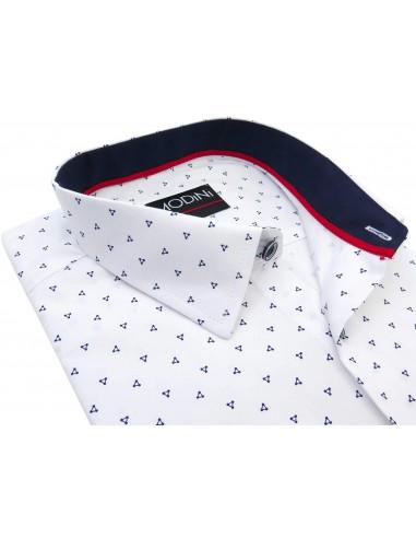 Biała koszula z granatowym wzorem Y09