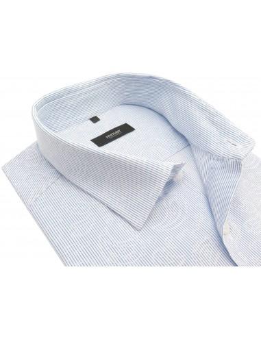 Biała koszula w niebieski prążek z...