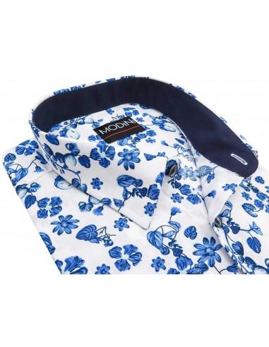 Biała koszula w niebieskie kwiaty Y12