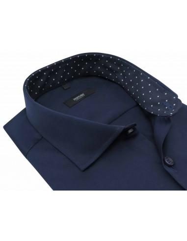 Granatowa koszula męska z kontrastami...