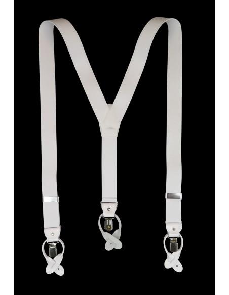 Białe szelki do spodni na guziki z białymi skórkami G3