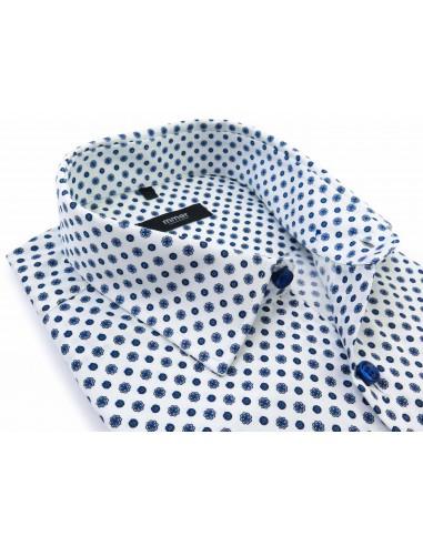 Biała koszula w niebieski...