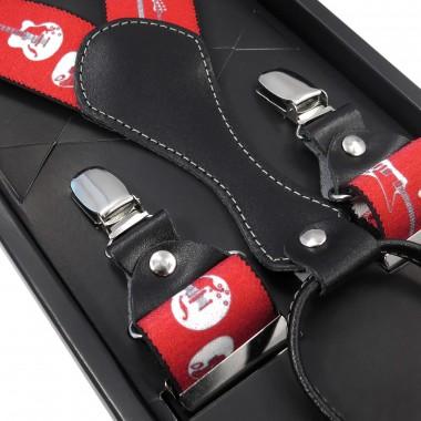 Czerwone szelki męskie w białe gitary SZ61