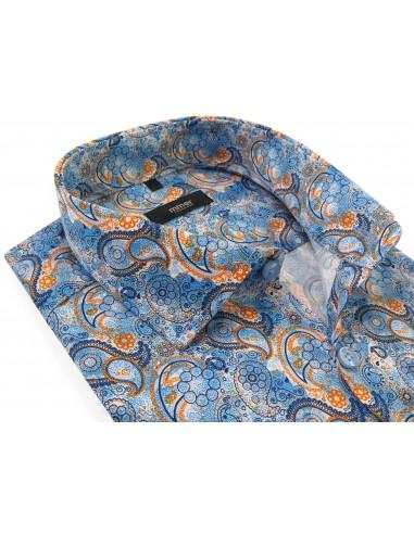 Niebieska koszula w unikatowy wzór -...