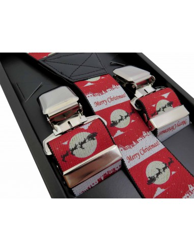 Świąteczne czerwone szelki we wzór -...