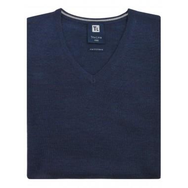Granatowy sweter męski w...