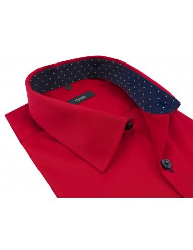 Czerwona koszula męska z granatowymi...