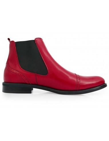 Modne czerwone męskie buty zimowe -...