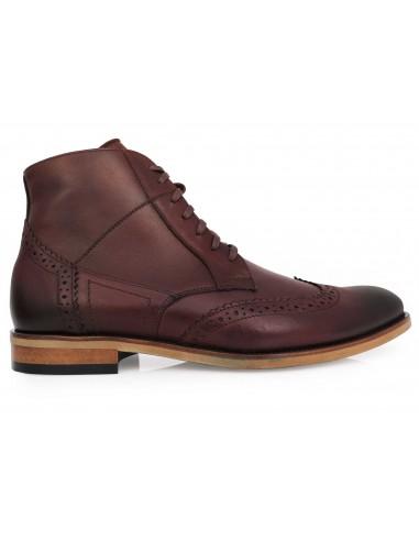 Skórzane brązowe buty męskie zimowe -...
