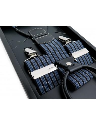 Niebiesko-czarne szelki męskie w...