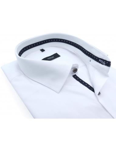 Biała koszula z kieszonką i brązowymi...