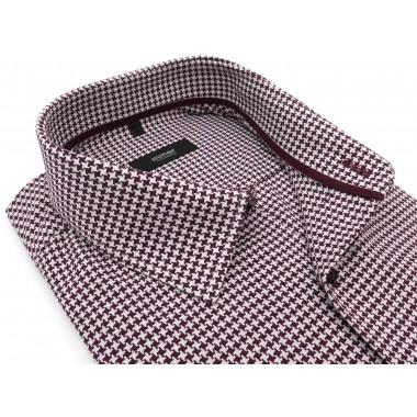 Bordowa koszula we wzór -...