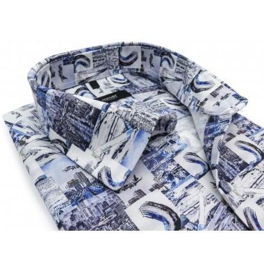 Biało-niebieska koszula w...