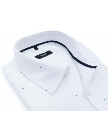 Biała koszula w granatowe drobne...