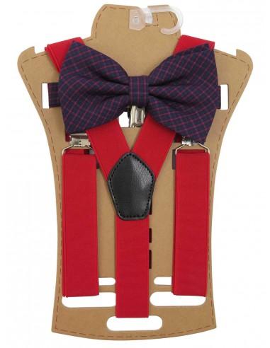 Zestaw - czerwone szelki do spodni i...