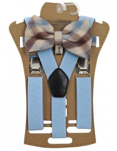 Zestaw - błękitne szelki do spodni i...