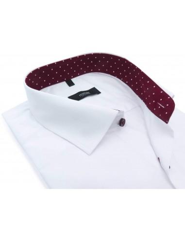 Biała koszula z bordową lamówką w...