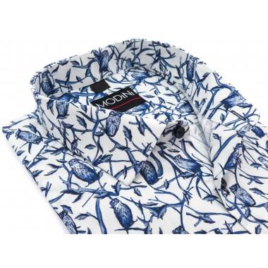 Biała koszula w niebieskie...