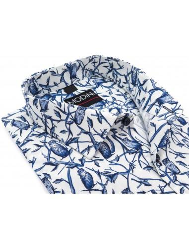 Biała koszula w niebieskie sowy Y21