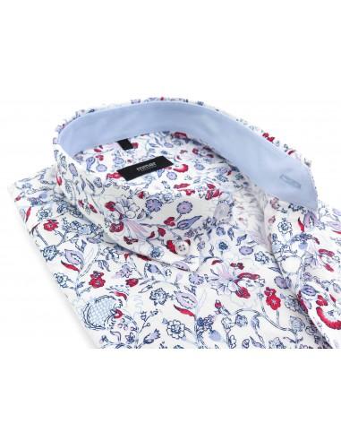 Biała koszula Mmer we wzór - kwiaty E107