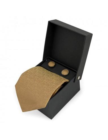 Złoty jedwabny zestaw - krawat,...