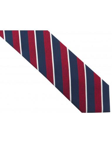 Granatowy krawat męski w czerwone i...