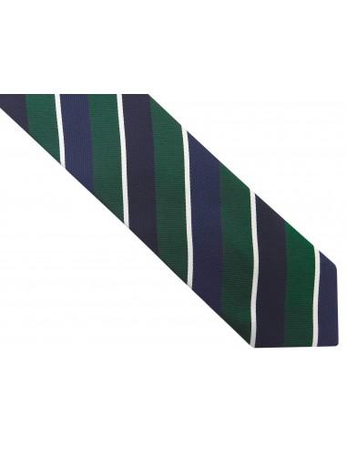 Granatowy krawat męski w zielone i...