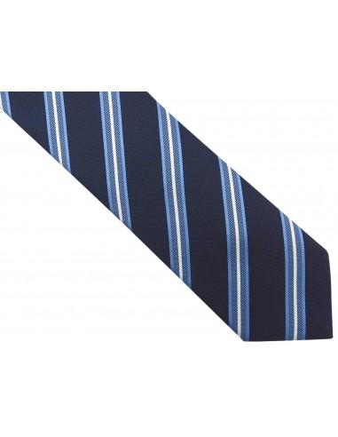 Granatowy krawat męski w niebieskie i...