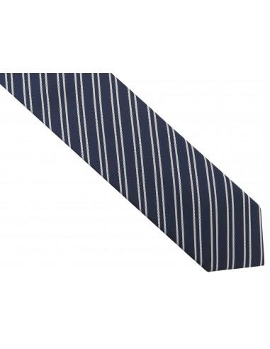 Granatowy krawat męski w białe paski...