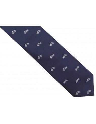 Wąski granatowy krawat męski w białe...