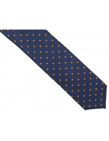 Granatowy krawat męski w pomarańczowe...