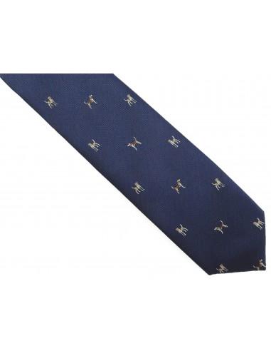 Granatowy krawat męski w psy D283