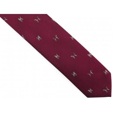 Bordowy krawat męski w psy...